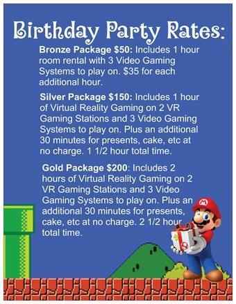 punchout gaming birthday party rates